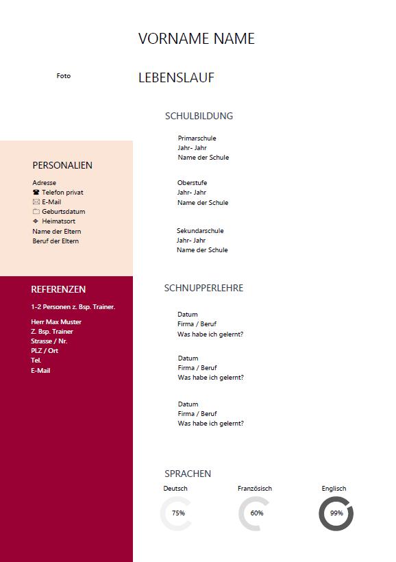 lebenslauf word vorlage - Lebenslauf Schweiz