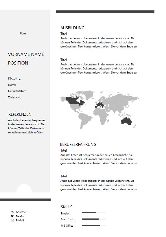 Lebenslauf Word Vorlage Lebenslauf Schweiz
